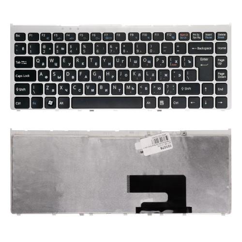 Клавиатура для ноутбука Sony Vaio VGN-FW, VGNFW Series. Г-образный Enter. Черная, с серебристой рамкой. PN: 148084172.