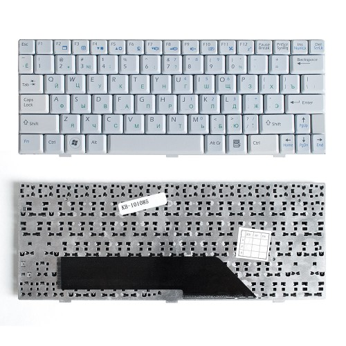 Клавиатура для ноутбука MSI Wind U90, U100, U110, U120 Series. Плоский Enter. Белая, без рамки. PN: S1N-1UUS351-SA0, V022322BS1.