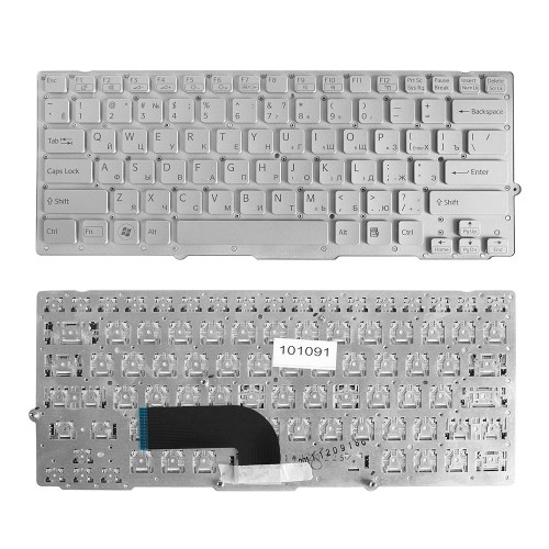 Клавиатура для ноутбука Sony Vaio VPC-SD, VPC-SB Series. Плоский Enter. Серебристая, без рамки. PN: 148949641 , 9Z.N6BBF.00R.