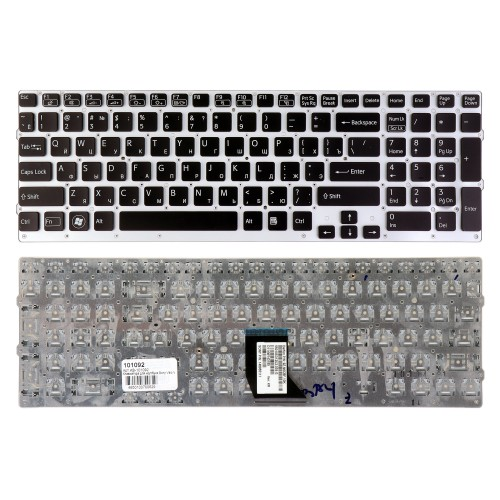 Клавиатура для ноутбука Sony Vaio VPC-CB, VPC-CB17, VPCCB17 Series. Плоский Enter. Серебристая, без рамки. PN: 148954821, 9Z.N6CBF.00R.