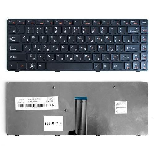 Клавиатура для ноутбука Lenovo IdeaPad B480, G480, Z380, Z480 Series. Плоский Enter. Черная, с черной рамкой. PN: 9Z.N5TSQ.T0R.