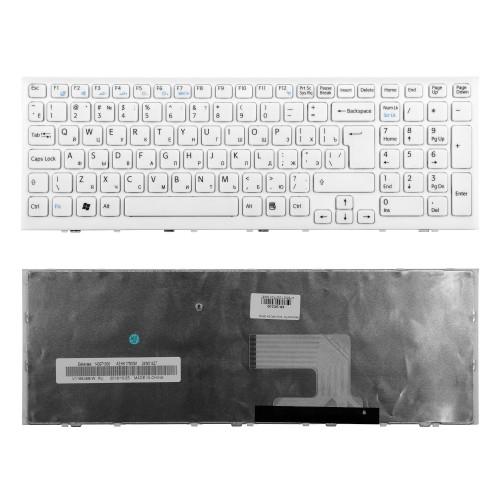 Клавиатура для ноутбука Sony VPC-EE, VPCEE2E1R, VPCEE3E1R, VPCEE4M1R, VPCEE4E1R. Г-образный Enter. Белая, с рамкой. PN: V116646B.