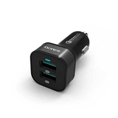 Универсальная автомобильная зарядка ROMOSS AU36P 36W с 2 USB-портами с функцией быстрой зарядки QC 3.0. Черная.