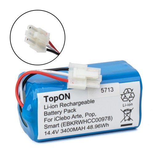 Аккумулятор для робота-пылесоса iClebo Arte, Pop, Smart. 14.4V 3400mAh Li-ion. PN: EBKRWHCC00978.