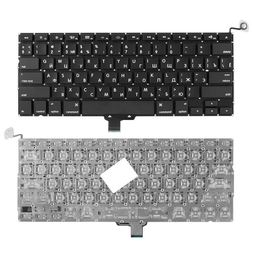 Клавиатура для ноутбука Apple Macbook Air A1304, A1237 Series. Плоский Enter. Черная, без рамки. PN: A1304, A1237.