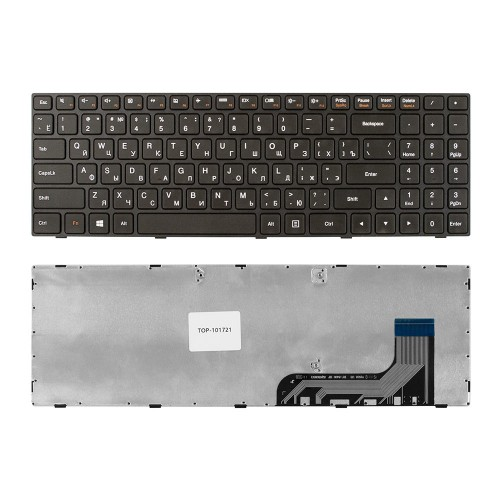 Клавиатура для ноутбука Lenovo Ideapad 100-15, 100-15IBY, B50-10, B5010 Series. Плоский Enter. Черная, с черной рамкой. PN: 5N20H52634, 5N20H52646.