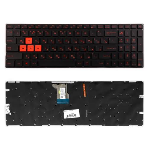 Клавиатура для ноутбука Asus GL502, GL502VM, GL502VS Series. Плоский Enter. Черная, без рамки. PN: 90NB0DR1-R31RU0.