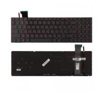 Клавиатура для ноутбука Asus G771, N551, GL552 Series. Плоский Enter. Черная, без рамки. С подсветкой. PN: 0KNB0-662CUS00.