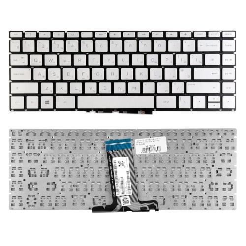 Клавиатура для ноутбука HP 14-BS, 14-BR, 14-BF, 14-BK Series. Плоский Enter. Серебристая, без рамки. PN: 920894-B31