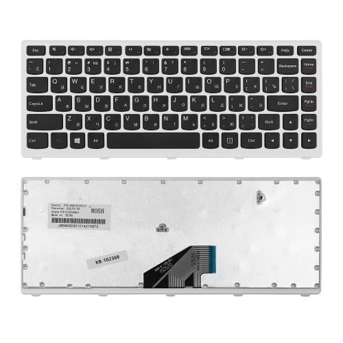Клавиатура для ноутбука Lenovo ThinkPad U310 Series. Плоский Enter. Черная, с белой рамкой. PN: AELZ7700110.