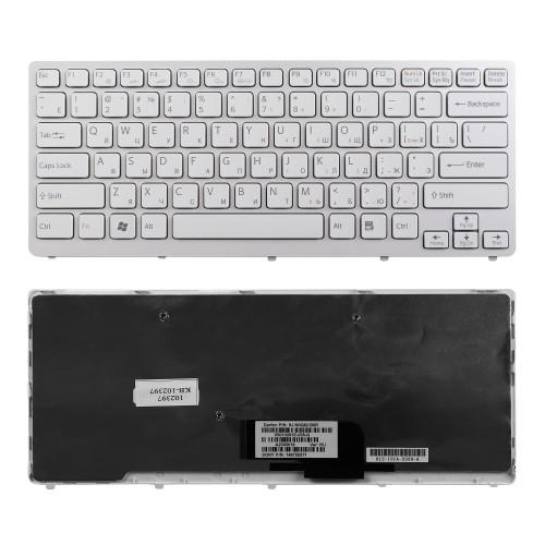 Клавиатура для ноутбука Sony Vaio VPC-CW, VGN-CW Series. Плоский Enter. Белая. С белой рамкой. PN: NSK-S7A0R.