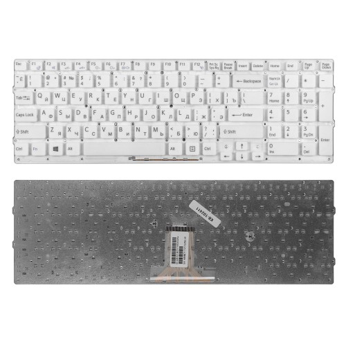 Клавиатура для ноутбука Sony VPC-EB Series. Плоский Enter. Белая, без рамки. PN: 148792871, V111678A, 550102M14-203-G