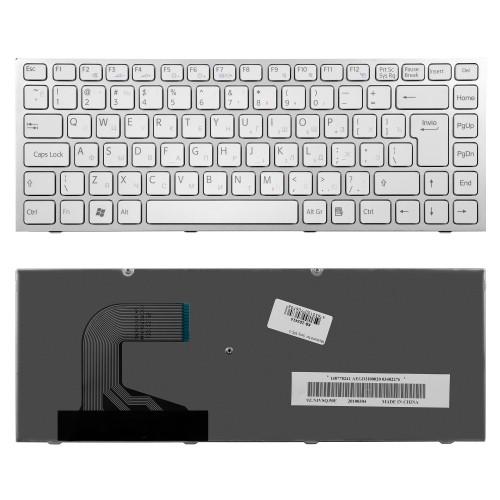Клавиатура для ноутбука Sony VPC-S Series. Г-образный Enter. Белая, с рамкой. PN: 148778371.