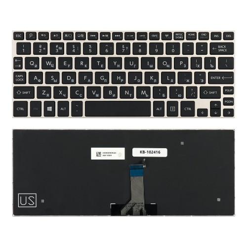 Клавиатура для ноутбука Toshiba NB10, NB15 Series. Плоский Enter. Черная, с серебристой рамкой.