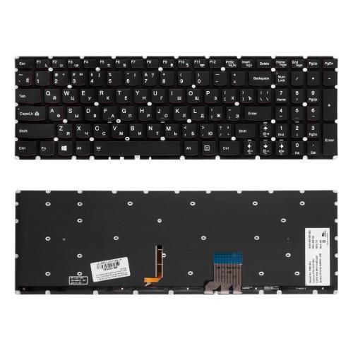 Клавиатура для ноутбука Lenovo Y50-70, Y50-80, Y70-70 Series. Плоский Enter. Черная, без рамки. С подсветкой. PN: 25215982.