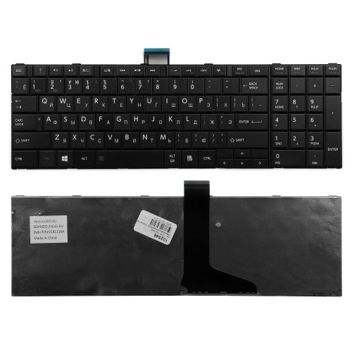 Клавиатура для ноутбука Toshiba C50, L50, C850, P870 Series. Плоский Enter. Черная, без рамки. PN: MP-11B96SU-528, NSK-TT0SU 0R.