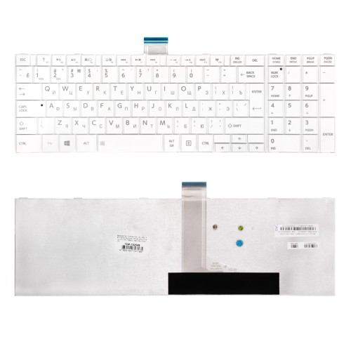 Клавиатура для ноутбука Toshiba C850, L850, P850 Series. Г-образный Enter. Белая, без рамки. PN: MP-11B56SU-528.
