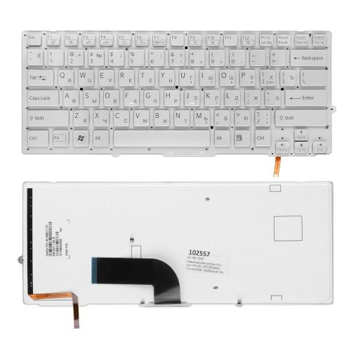 Клавиатура для ноутбука Sony Vaio VPC-SD, VPC-SB Series. Плоский Enter. Серебристая, без рамки. C подсветкой. PN: 148949641.