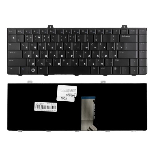 Клавиатура для ноутбука Dell Inspiron 1320, 1440 Series. Плоский Enter. Черная, без рамки. PN: V100825CS