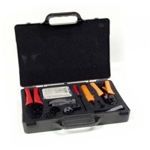 Набор инструментов Hyperline HT-4015 (устройство обжимное для RJ-45/12/11, устройство обжимное для R