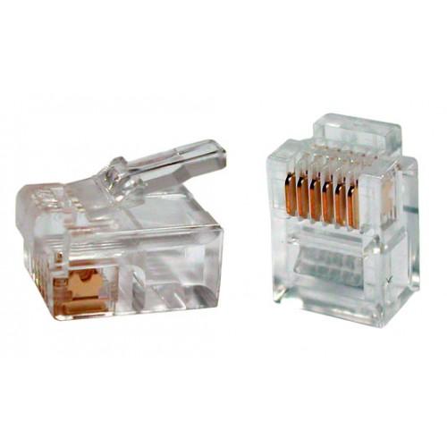Коннектор телефонный RJ-12 6P6C для розетки, TWT, 100 шт. в упак. TWT-PL12-6P6C/100