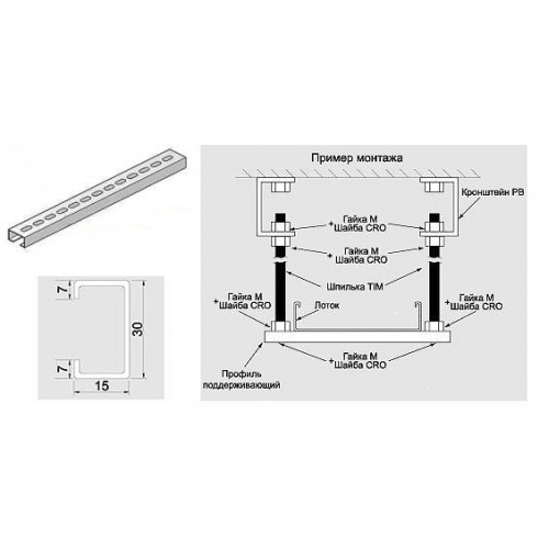 Профиль перфорированный поддерживающий для лотка шириной 200 мм, марка DR 15х30, L=250мм, Vergokan