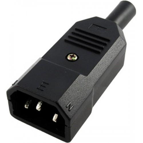 Вилка электрическая кабельная, IEC 60320, C14, 10A, 250V, разборная, черная