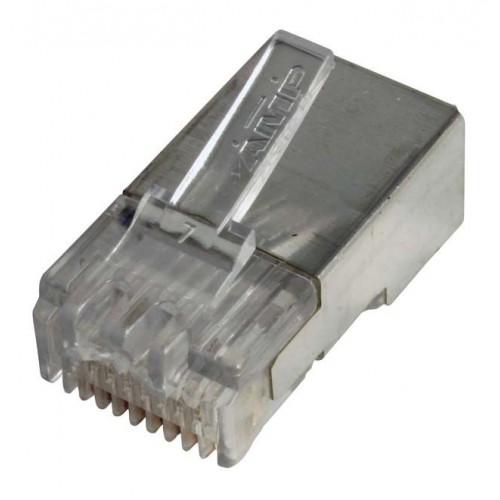 Коннектор RJ-45 (8P8C) FTP Кат. 3 AMP, экранированный, для многожильного кабеля, 100 шт. в упак.