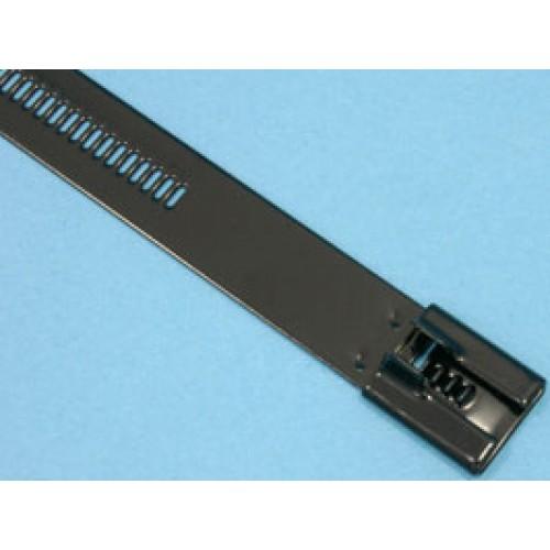 Стяжка стальная 335х12мм, открывающаяся, (черная, в пластике), KSS (уп.100шт.)