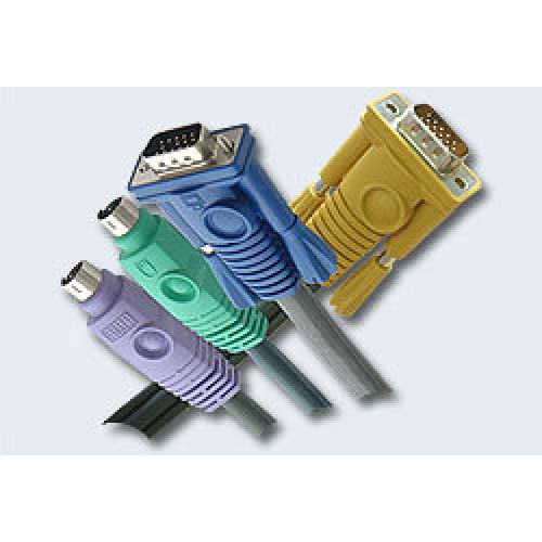 Шнур, мон+клав+мышь PS/2, HD DB15+2x6MINI-DIN, Female/2xMale-3xMale,  8+6+6 проводов, опрессованный,
