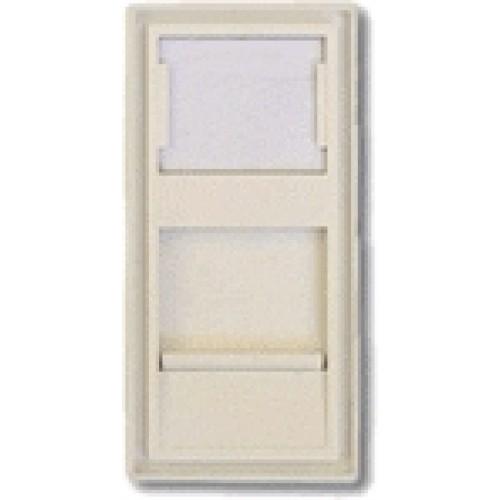 Вставка 22.5х45 на 1 кейстоун, со шторкой, маркировкой, белая, TWT-SIP-22N-WH
