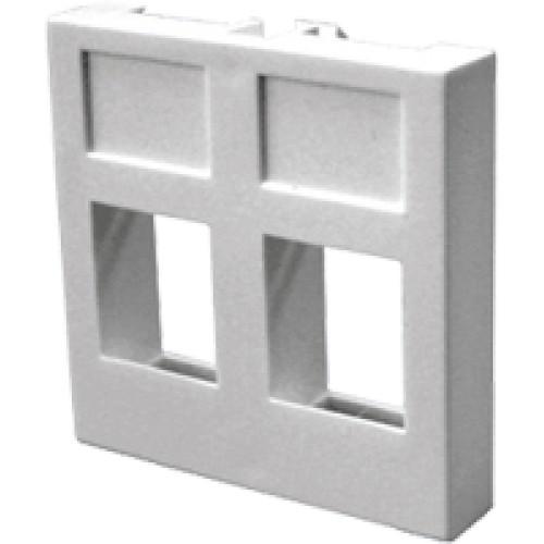 Вставка 45x45 на 2 кейстоуна, белая, LANMASTER LAN-SIP-24R-WH