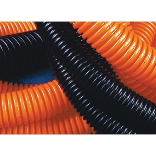 Труба ПНД гибкая гофр. д.20мм, лёгкая с протяжкой, 100м, цвет оранжевый