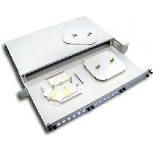 Кросс оптический 19'' стоечный на 3 адаптерные панели, 1U, LANMASTER, с 2-мя сплайс-кассетами, без а