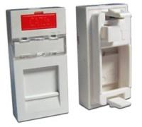 Вставка 22.5х45 на 1 кейстоун, со шторкой, маркировкой, иконкой, белая, LANMASTER LAN-SIP-22M-WH