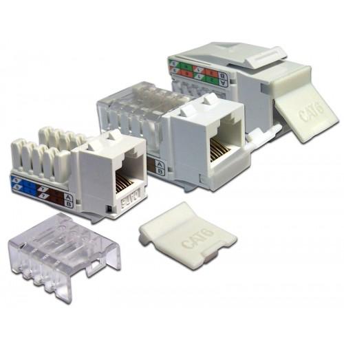 Вставка Keystone RJ-45, категория 6, белая, со шторкой, LANMASTER LAN-OK45U6/90-WH