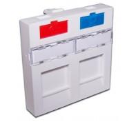 Вставка 45x45 на 2 кейстоуна, со шторкой, маркировкой, иконками, белая, LANMASTER LAN-SIP-24M-WH
