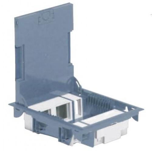 Коробка напольная с крышкой из стали, 10М, глубина 65мм, серая