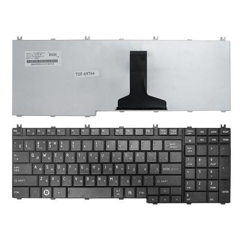 Клавиатура для ноутбука Toshiba Satellite A500, A505, L350, L355, L500, P200 P300, X200 Series. Плоский Enter. Черная, без рамки. PN: NSK-TFK0R.