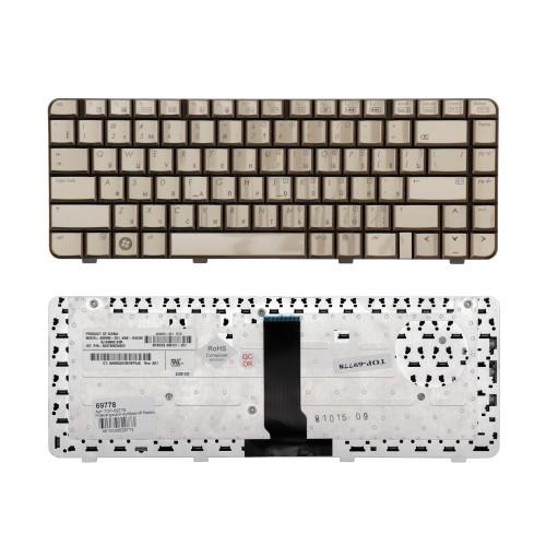Клавиатура для ноутбука HP Pavilion HP DV3000, DV3100, DV3200 Series. Плоский Enter. Бронзовая, без рамки. PN: 9J.N8682.X01.