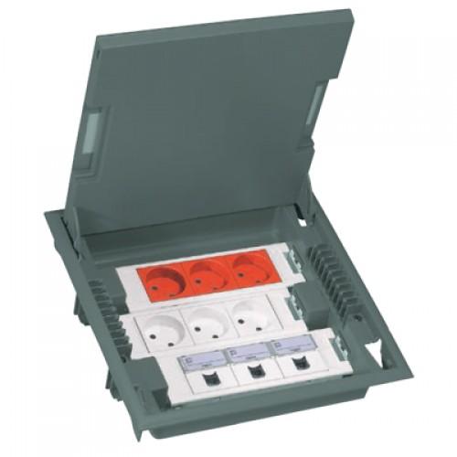 Коробка напольная на 18 модулей Mosaic, глубина 75-105мм, с крышкой из стали, серая