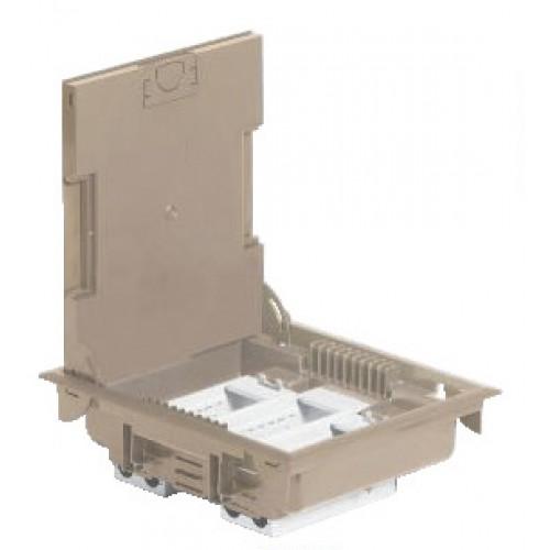 Коробка напольная на 12 модулей Mosaic, глубина 75-105мм под ковровое покрытие, бежевая