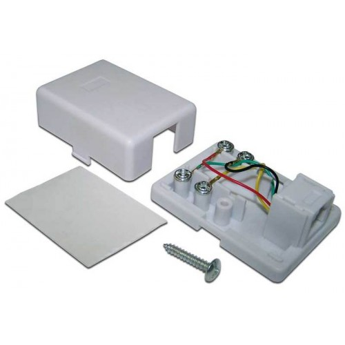 Розетка настенная телефонная, 1 порт RJ12, белая, винтовая, TWT-SS1-12-WH