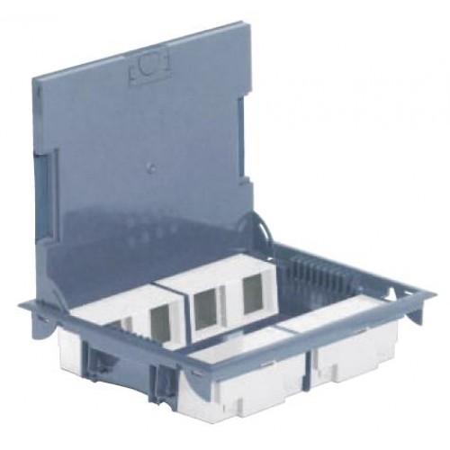 Коробка напольная на 16 модулей Mosaic, глубина 65мм, с крышкой из стали, серая