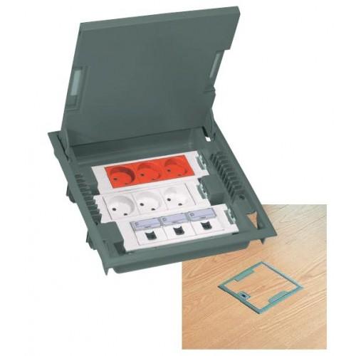 Коробка напольная на 18 модулей с крышкой под ковровое покрытие, глубина 75-105мм, серая