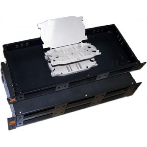 Кросс оптический 19'' металлический на 3 адаптерные панели, 1U, LANMASTER, 2 сплайс-кассеты, черный