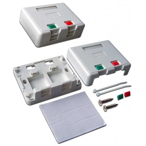 Коробка настенная на 2 кейстоуна, со шторками, белая, LANMASTER LAN-SA2/S-WH
