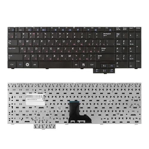 Клавиатура для ноутбука Samsung R525, R528, R530 Series. Плоский Enter. Черная, без рамки. PN: BA59-02832C.
