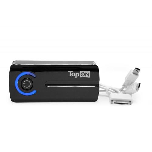 Внешний аккумулятор TopON TOP-MINI 5200mAh (19Wh) LED-фонарик. Черный