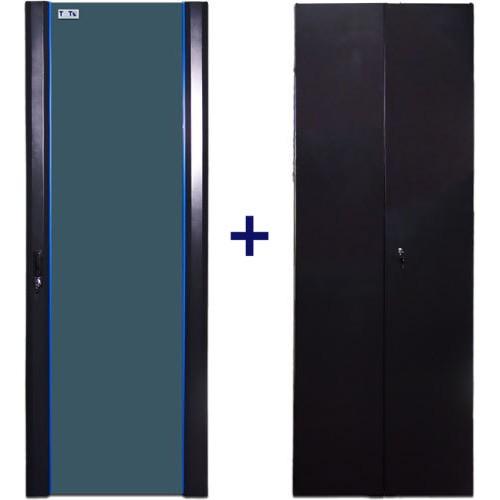 Комплект дверей 37U, 600 мм, черный, передняя - стекло, задняя - распашная металл
